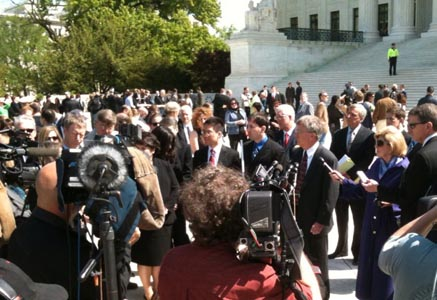 Christian Legal Society lawyer Michael McConnell speaks to press outside Supreme Court