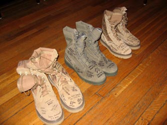 "Boots signed by former servicemembers impacted by the ""Don't Ask, Don't Tell"" policy were left at the office of Sen. Jim Webb (D-Va.) by members of Get Equal on Friday, September 17."