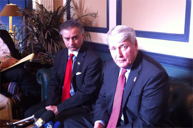 Del. Kumar Barve (L) and House Speaker Michael Busch