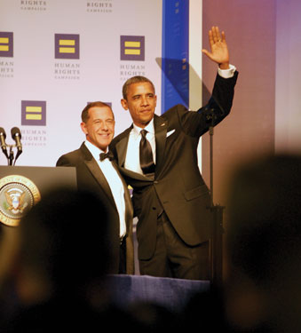 Solmonese and President Obama at HRC National Dinner 2011