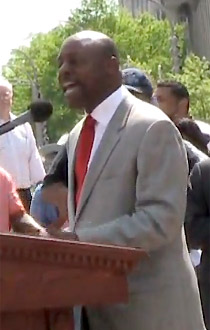 Anthony Evans at a public rally against marriage rights in 2009