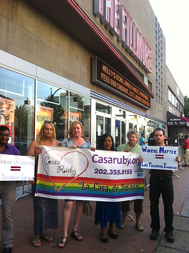Dana Byer, Ruby Corado (center) and other LGBT activists protest Molotov at the Fillmore Silver Spring.