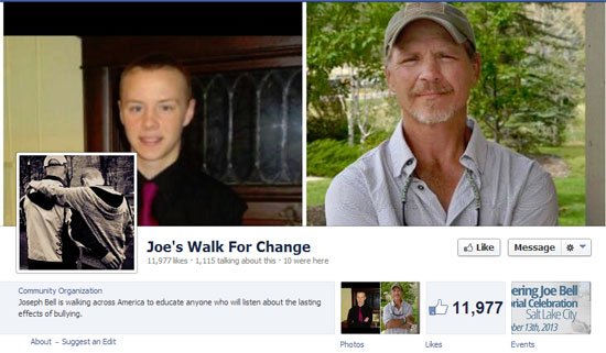 Jadin and Joe Bell from Joe's Walk for Change Facebook page