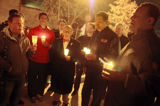 2013 World AIDS Day Candlelight Memorial with Councilman Jim Graham (center) and Mayor Vincent Gray (center right) Photo by Ward Morrison