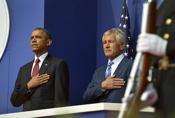 Photo: Barack Obama (left) and Chuck Hagel. Credit: DoD Photo by Glenn Fawcett.