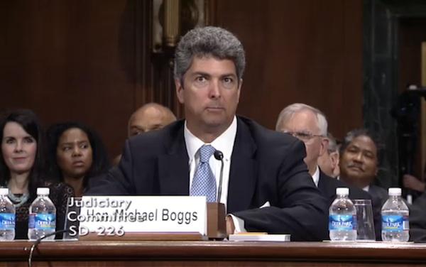 Image: Michael Boggs testifies at his May 13 confirmation hearing. Credit: Senate Judiciary Committee.