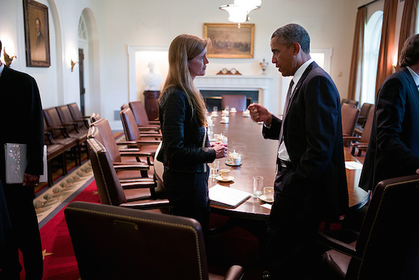 Photo: Samantha Power and Barack Obama. Credit: Official White House Photo by Pete Souza.