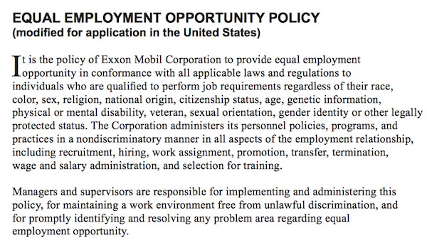 exxon policy