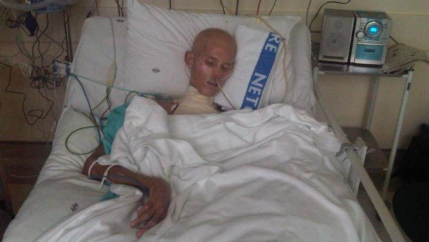 Raymond Buys in hospital shortly before he died