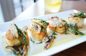 Hank's Oyster Bar: Seared Sea Scallops with Cauliflower Puree Shitake Mushrooms and Sea Beans -- Photo by Daniel Swartz