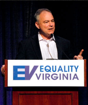 U.S. Sen. Tim Kaine at Equality Virginia's 12th Annual Commonwealth Dinner (April 2015).
