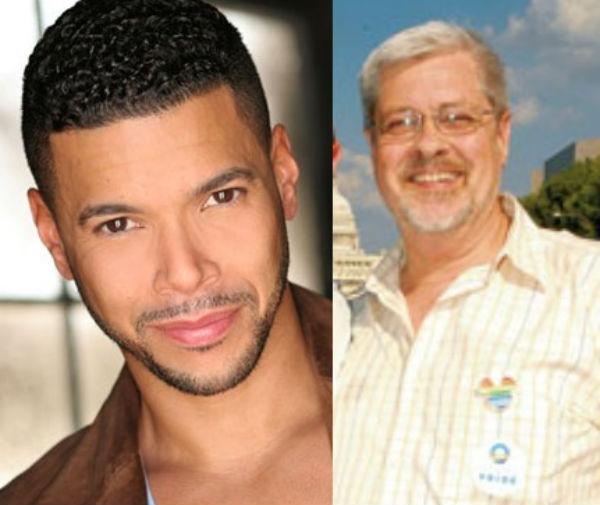 Pride Grand Marshals Wilson Cruz (left) and Deacon Maccubbin