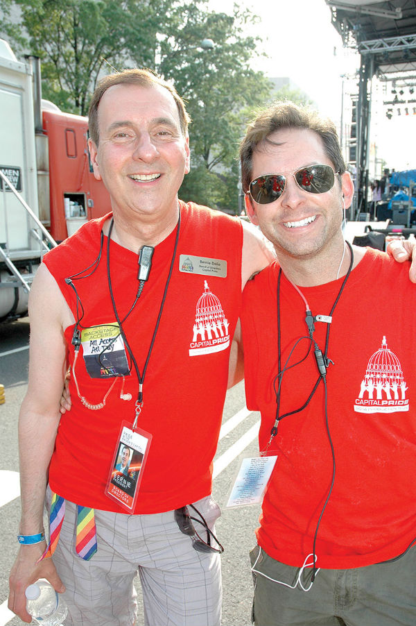 Bernie Delia and Ryan Bos backstage at the 2014 Capital Pride Festival -- Photo by Randy Shulman