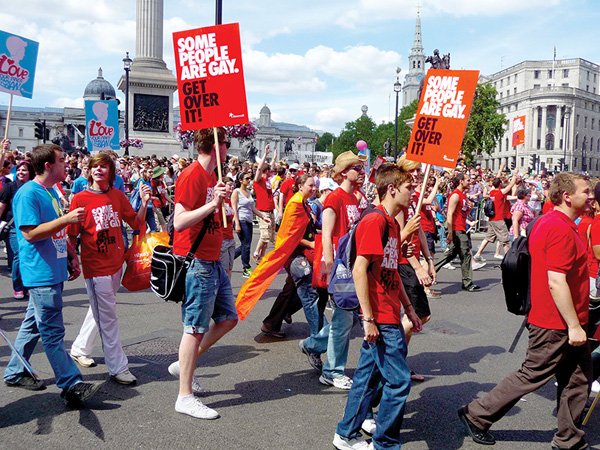 Participants in Gay Pride Parade Day on July 3, 2010 in Central London, England - Photo: Chris-Harve