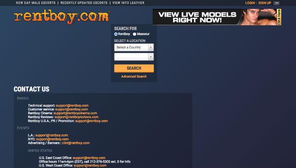 A screenshot of Rentboy.com's contact page. (Credit: Rentboy.com)