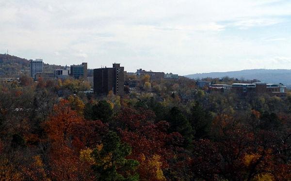 The skyline of Fayetteville, Ark. (Photo: Brandonrush, via Wikimedia Commons).