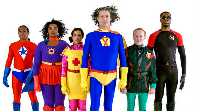 Staffers as superhero characters in Whitman-Walker Health's educational ad campaign for the Walk to End HIV (Photo: Whitman-Walker Health).