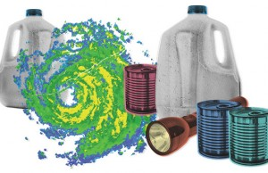 Hurricaine items - food, water, flashlight