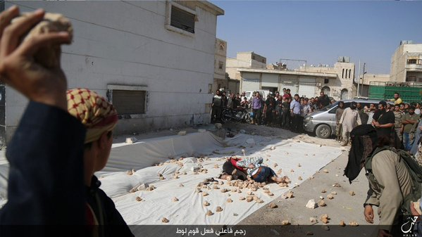 One of the victims during the stoning