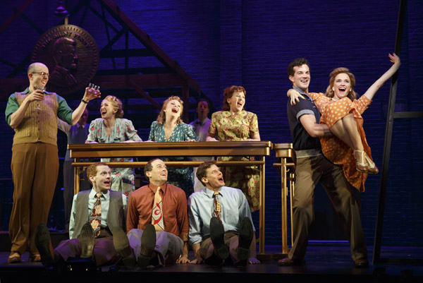 AJ Shively, Emily Padgett and the cast of Bright Star - Photo: Joan Marcus