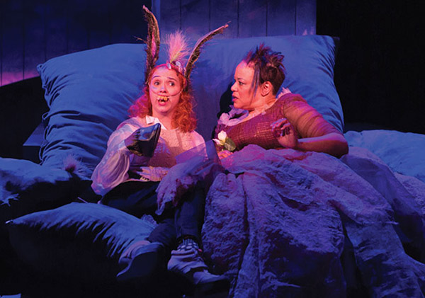 Holly Twyford (as-Bottom) and Caroline Stefanie Clay as Titania - Photo: Teresa Wood