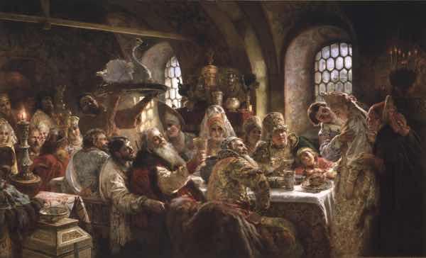 Boyar Wedding Feast - Tazza from Konstantin Makovsky- The Tsar's Painter - Courtesy Hillwood Estate, Museum & Gardens
