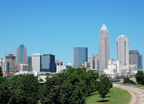 Skyline of the city of Charlotte, N.C. (Bz3rk, via Wikimedia Commons).