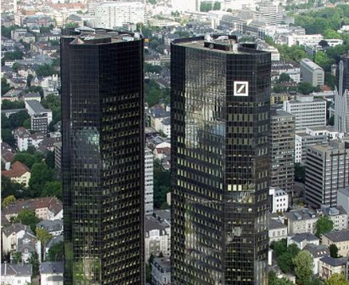 Headquarter of Deutsche Bank AG in Frankfurt am Main / Germany (Photo: 	Raimond Spekking, via Wikimedia).