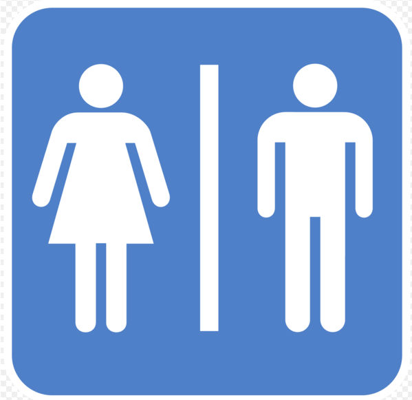 Bathroom infographic sign showing both genders (Photo: Tombe, via Wikimedia Commons).