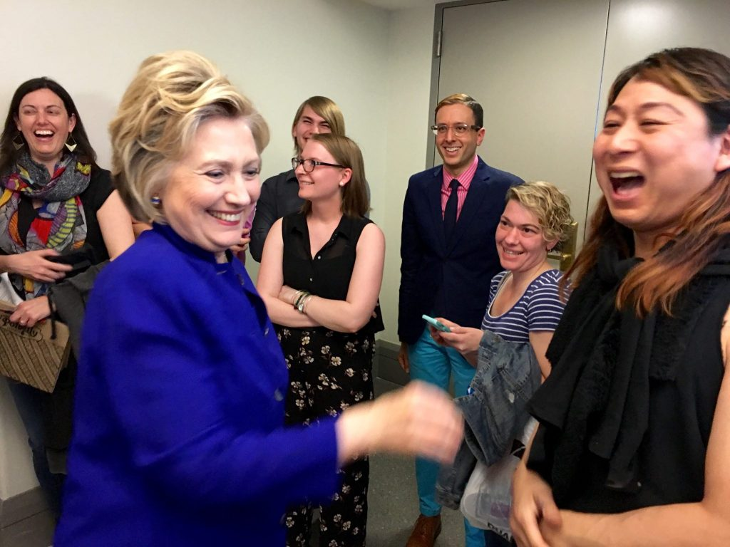 Hillary Clinton meets Pearl Love (r) during a campaign stop. Credit: Pearl Love / Facebook