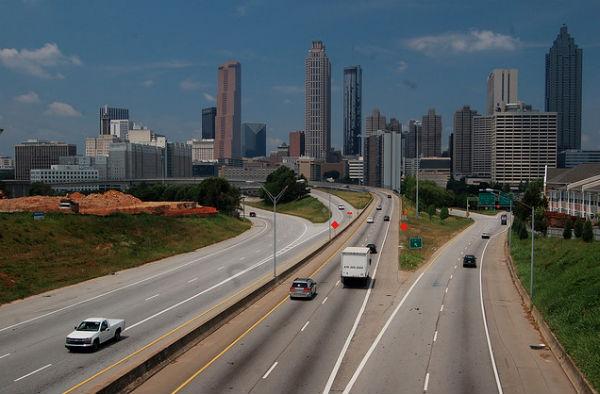 Downtown Atlanta's skyline from Jackson Street (Photo: Matt Lemmon, via Wikimedia).