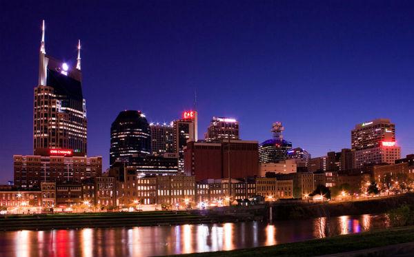Nashville's skyline at night (Photo: Kaldari, via Wikimedia).