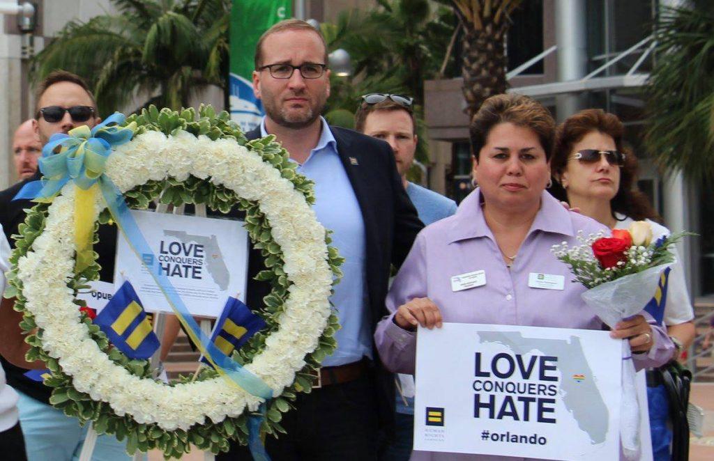Chad Griffin at Orlando vigil, Credit: HRC / Facebook