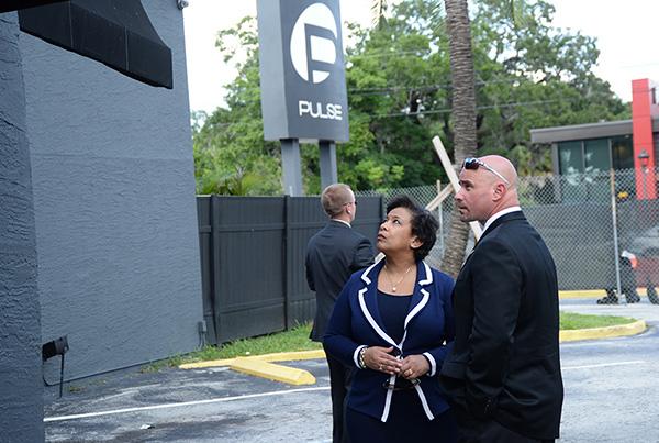 Loretta Lynch at Pulse nightclub in Orlando, Florida