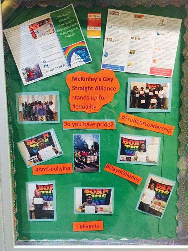 McKinley's Gay Straight Alliance display board -- Photo by Desiree-Sansing