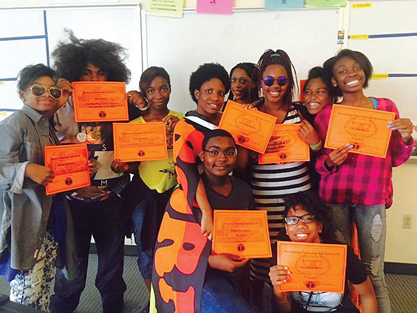 GSA kids at McKinley Technology Education Campus show off their amazing academic honor roll certificates proving GSA is good for academics  -- Photo by Desiree-Sansing