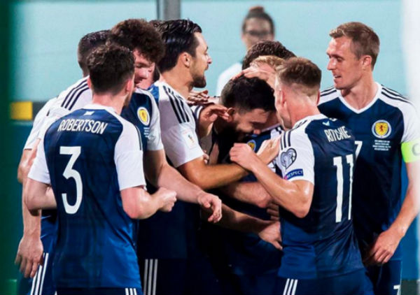 Members of Scotland's National Football team celebrate their 5-1 win in the World Cup qualification game. - Photo: Scotland National Team, via Facebook.
