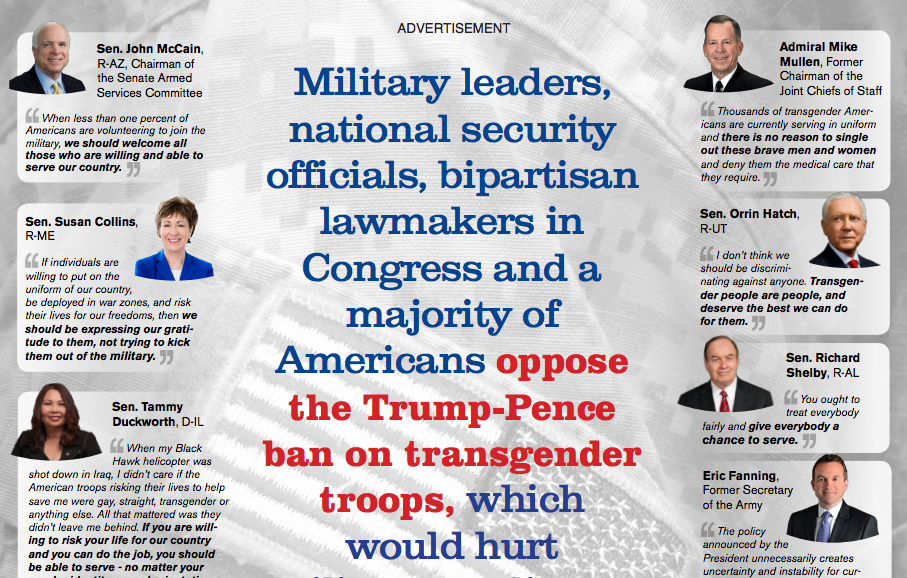 Image result for Trump has attempted to ban Transgender individuals from serving in the Military