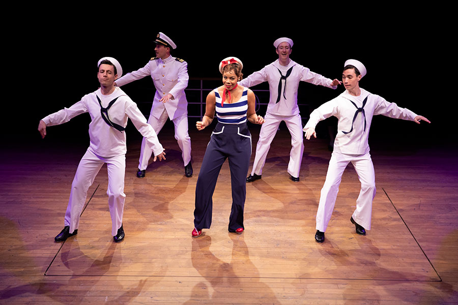 Mickey Orange, Ben Gunderson, Soara-Joye Ross, Brent McBeth, and Nicholas Yenson in Anything Goes. Photo by Maria Baranova