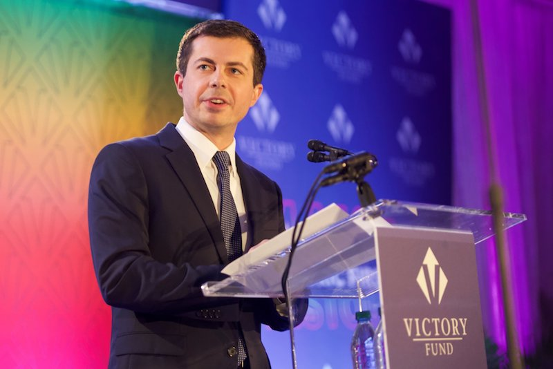 Pete Buttigieg appearing before the LGBTQ Victory Fund