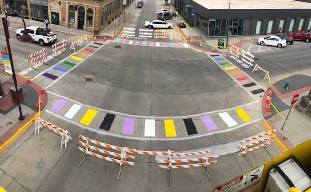 Ames rainbow crosswalk, gay news, metro weekly