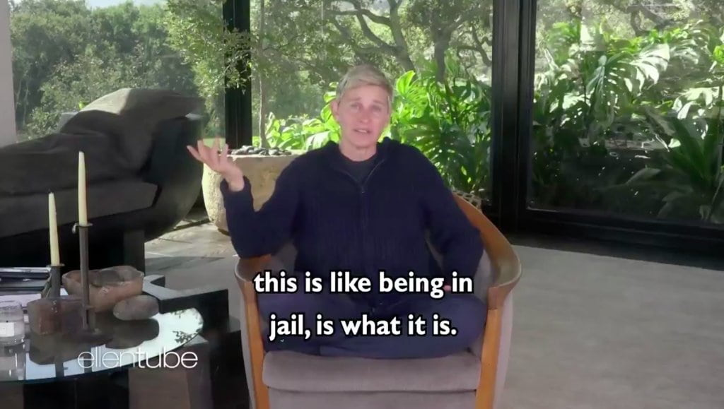 "Ellen DeGeneres slammed for comparing COVID-19 self-quarantine to ""being in jail"""