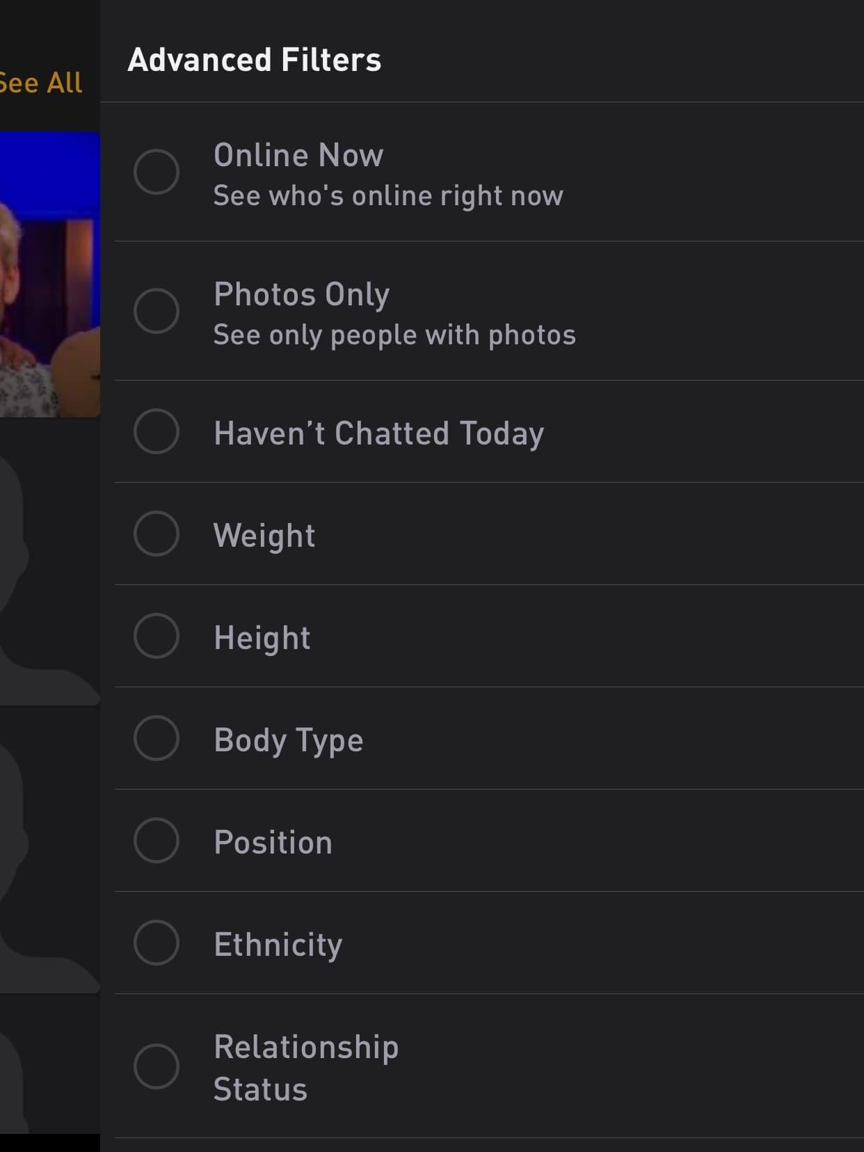 Grindr, ethnicity, filter