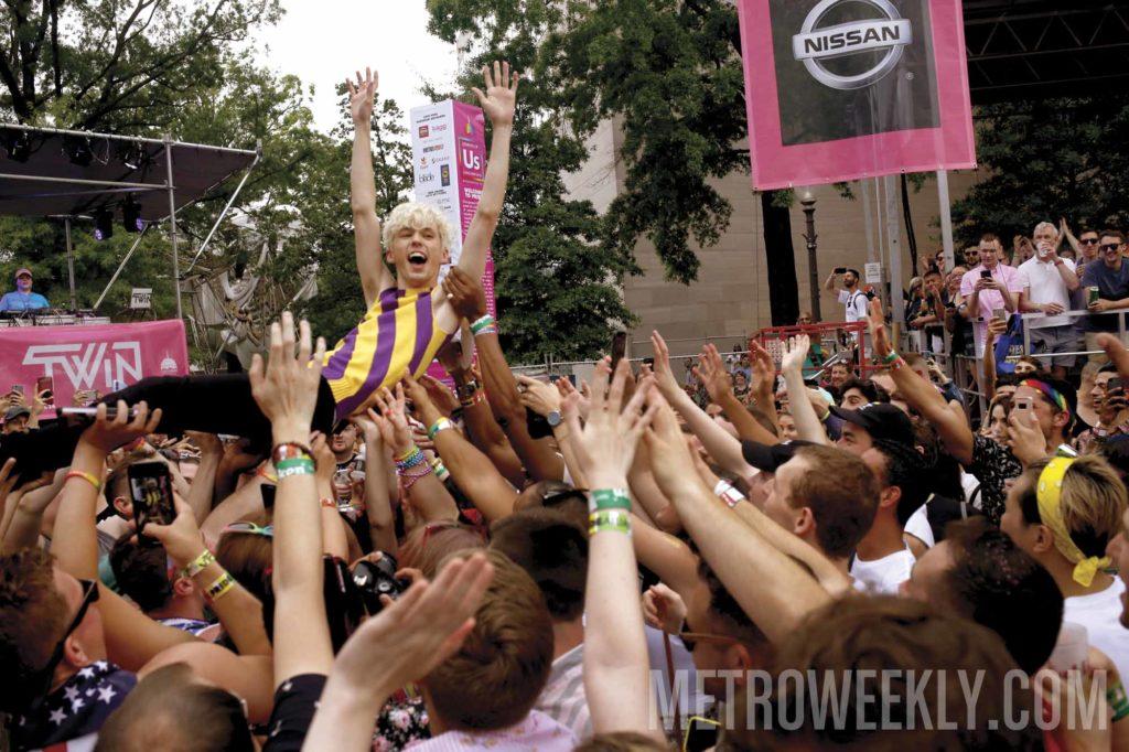 Troye Sivan surfs the crowd at 2018 Capital Pride