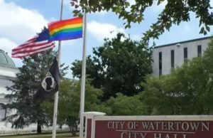 watertown, gay, flag, protest, lgbtq
