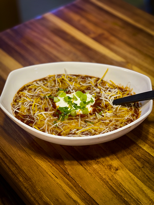 bowl of chili, recipe, savor