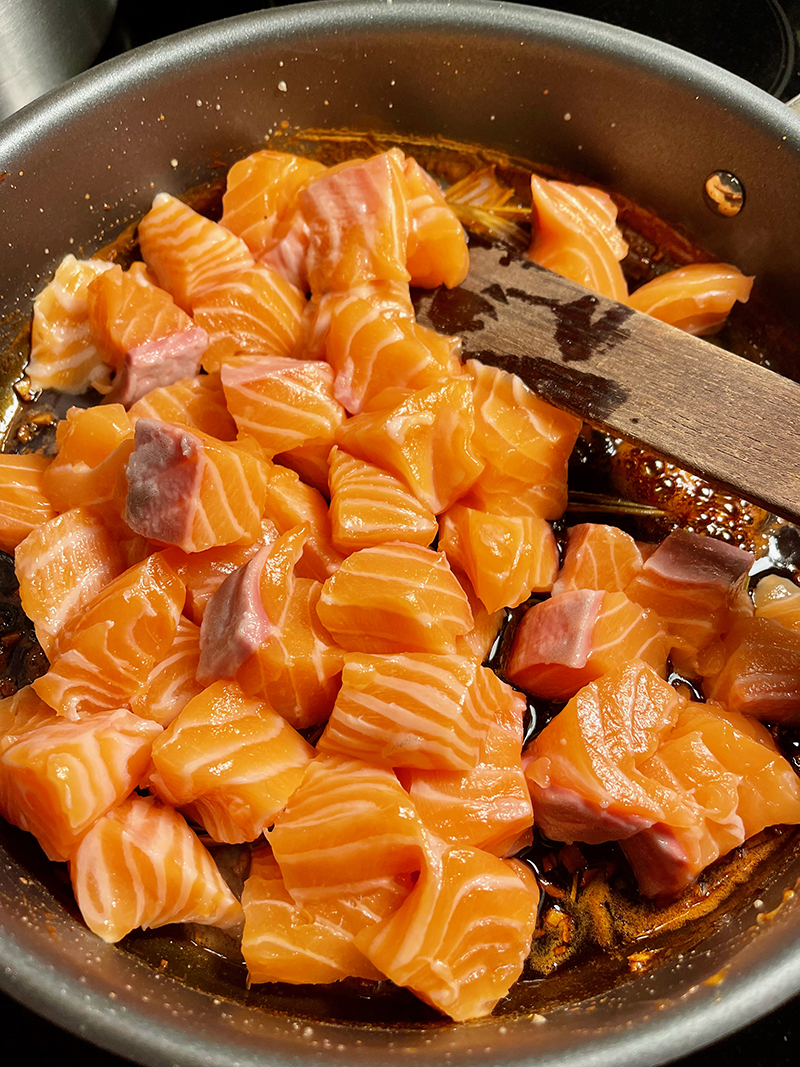 add cubed salmon