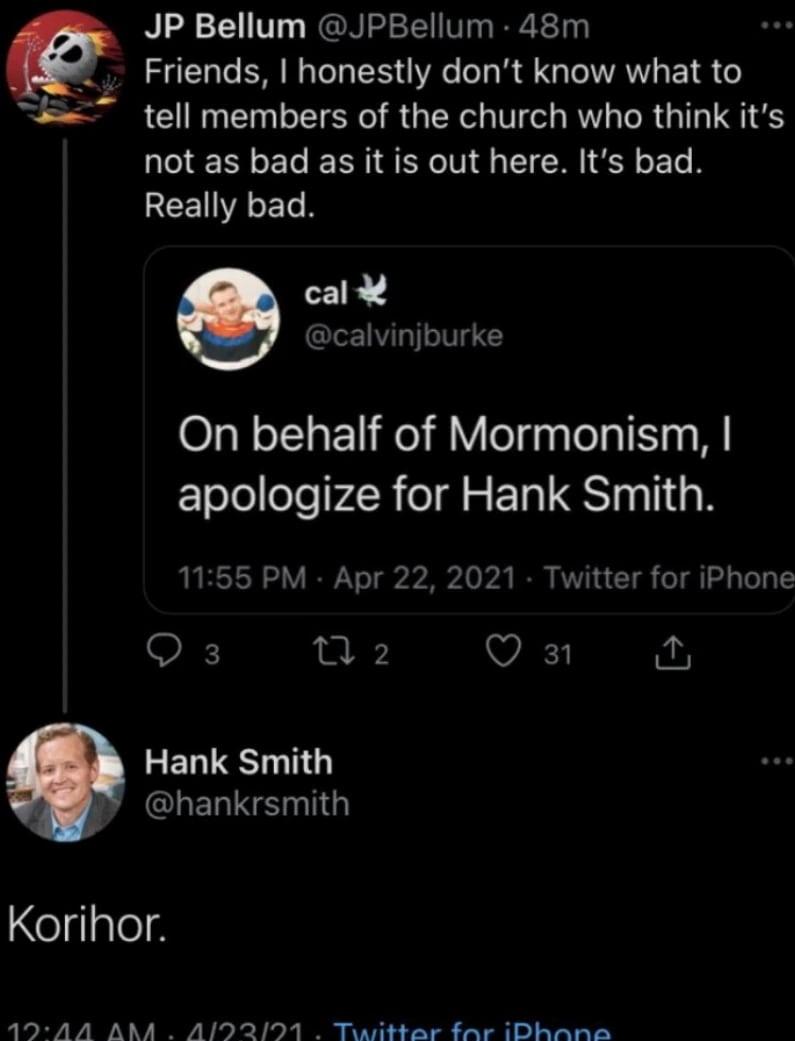 hank smith, mormon