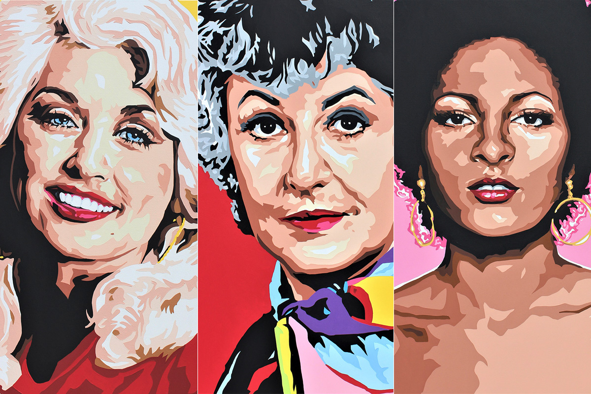 Dolly Parton, Bea Arthur and Pam Grier -- By David Amoroso