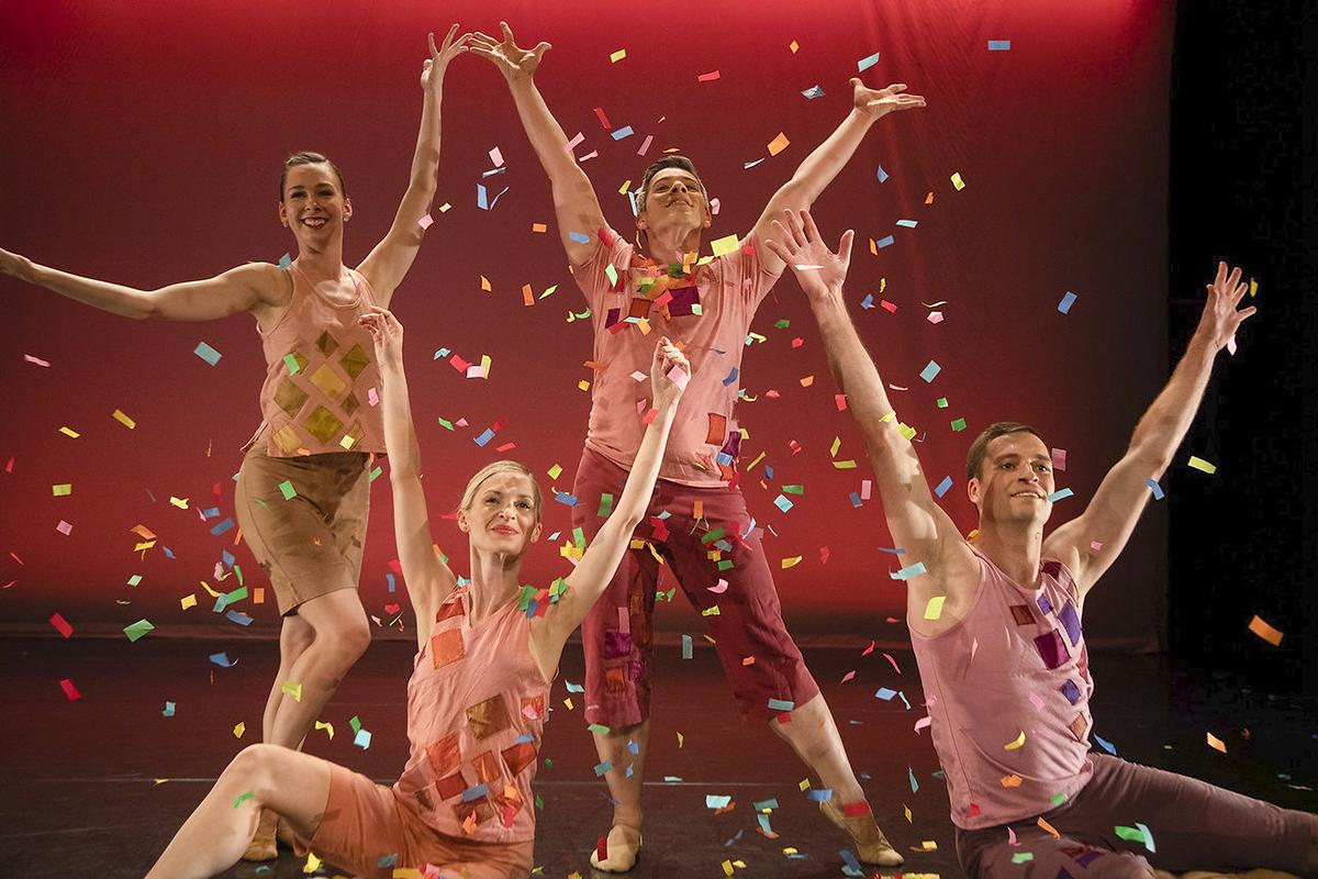 "Bowen McCauley Dance Co.: ""Petit Four"" dancers Alicia Curtis, Patrick Green, Eve Holmes-Varner, Dustin Kimball -- Photo: Jeff Malet"